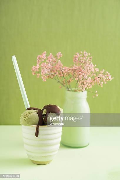Green tea icecream  with chocolate sauce and Gypsophila flower