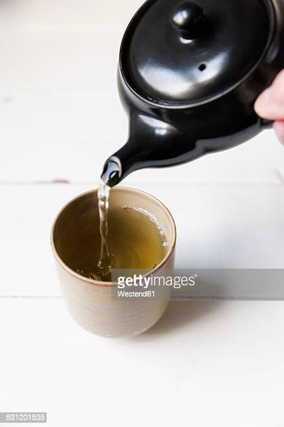 Green tea is being poured into cup with a Kyusu teapot