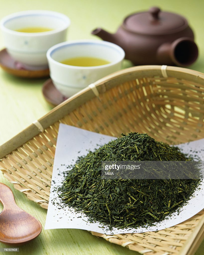 Green tea leaves : Stock Photo