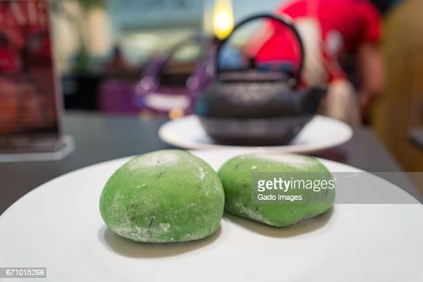 green tea mochi - mochi stock photos and pictures