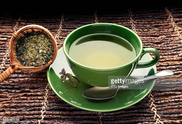 Green tea on bamboo