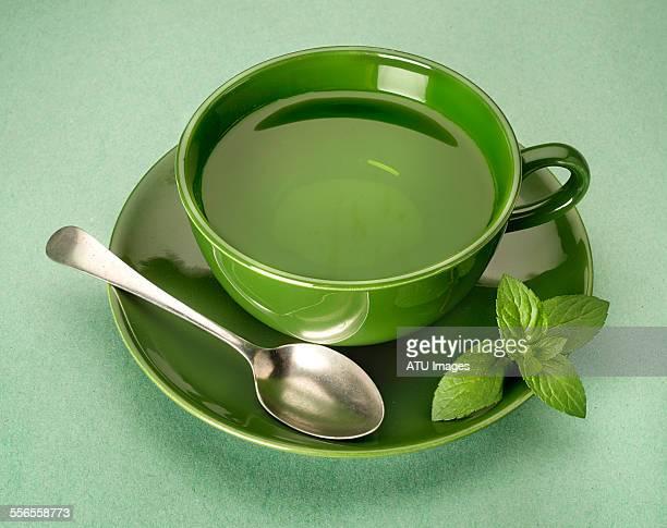 green tea on green background