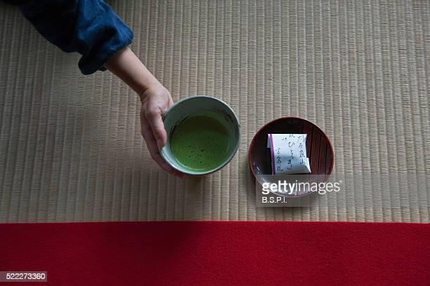 Green Tea Served at Hosen-in Temple Garden in Kyoto, Japan