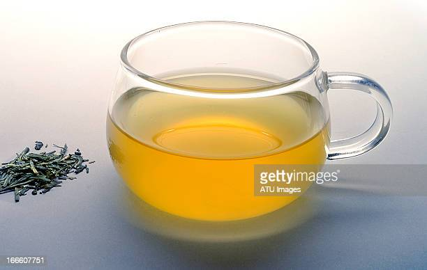 Green tea with leaves