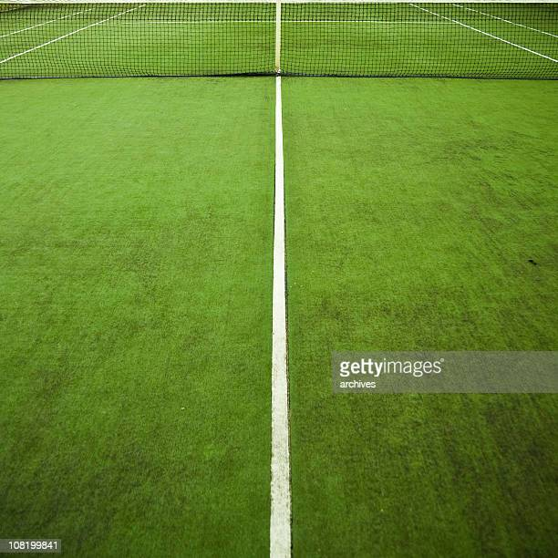 Green Tennis Court with Net and White Lines