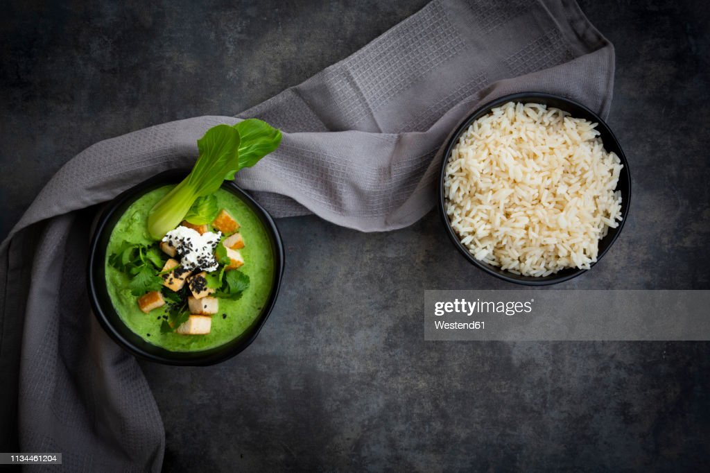 Green thai curry with spinach, pak choi, tofu, sour cream, black sesame and jasmine rice : ストックフォト