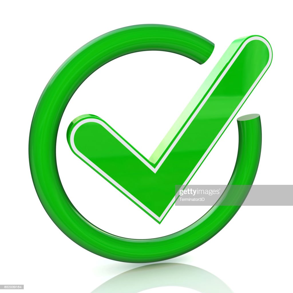 Green Tick Sign Icon 3d Glass Check Mark Symbol In The Design Of The