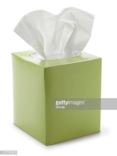 Green tissue box isolated on white background