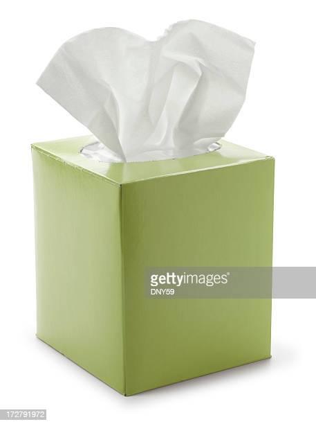 グリーンティッシュペーパーボックスの白背景