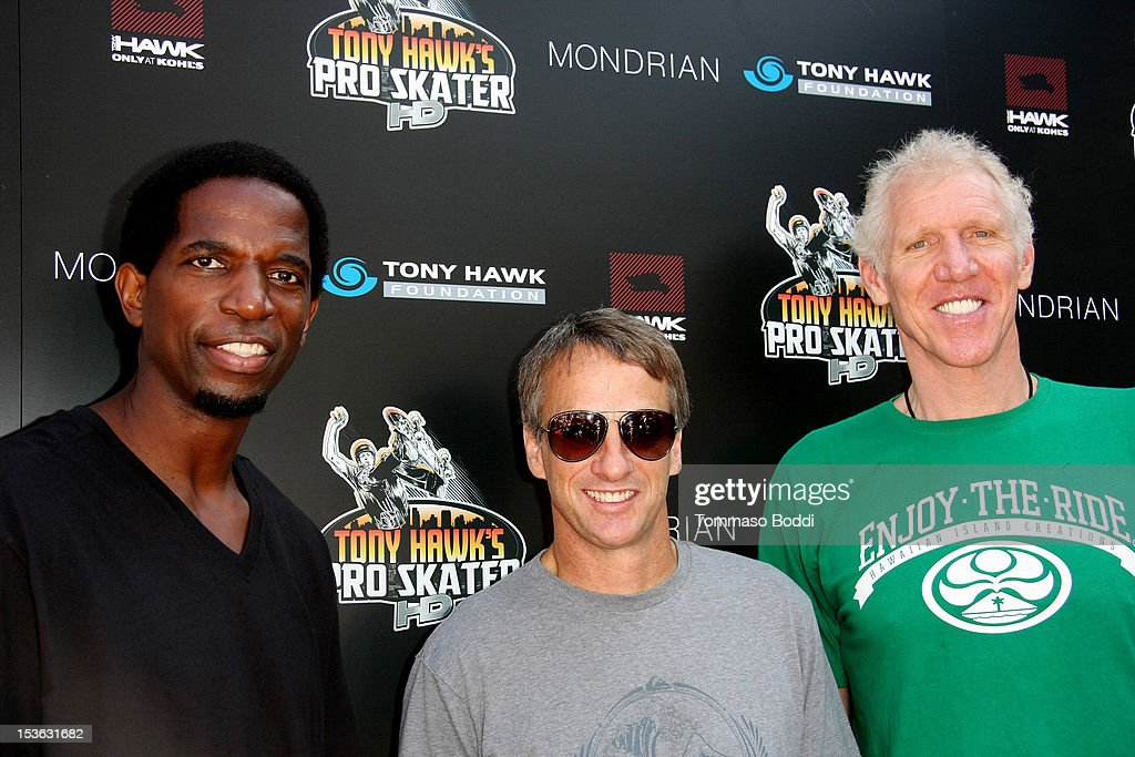 A.C. Green, Tony hawk and Bill Walton attend the 9th annual Tony Hawk Stand Up For Skateparks Benefit held at Ron Burkle's Green Acres Estate on October 7, 2012 in Beverly Hills, California.