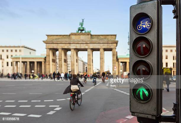 Green traffic light for bicycles at Brandenburger Tor (Brandenburg Gate)