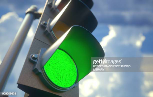 Green traffic light, illustration