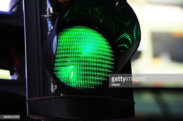 Green traffic light in city