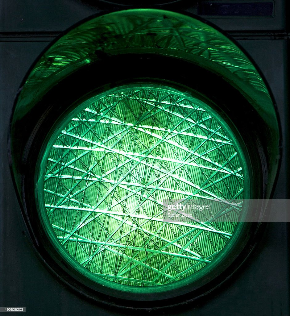 Green traffic light, North Rhine-Westphalia, Germany : Stock-Foto