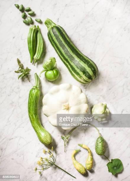green vegetable gradient still life - bicolore photos et images de collection