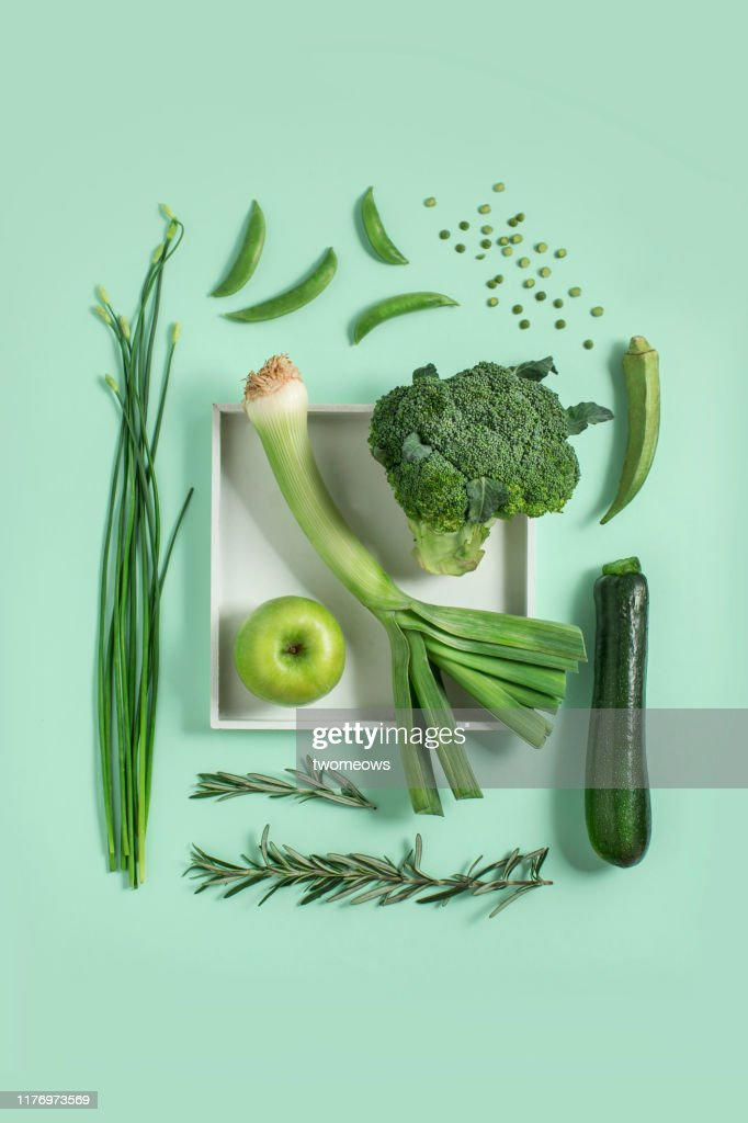 Green vegetables and fruits still life. : Stock Photo