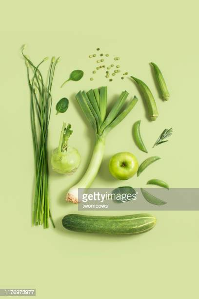 green vegetables and fruits still life. - stillleben stock-fotos und bilder