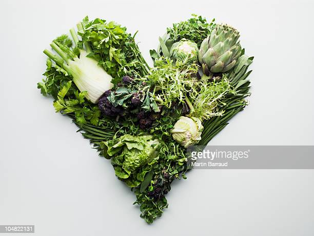 Green vegetables forming heart-shape