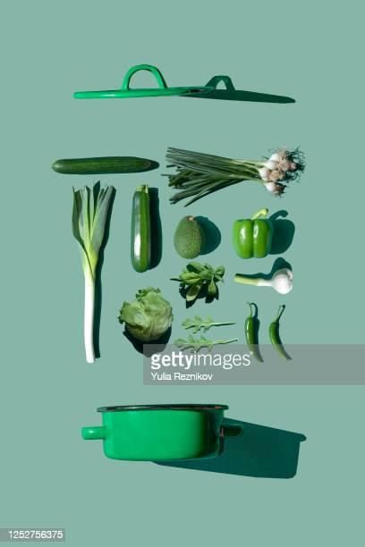 green vegetables on the green background- knolling concept - côte à côte photos et images de collection