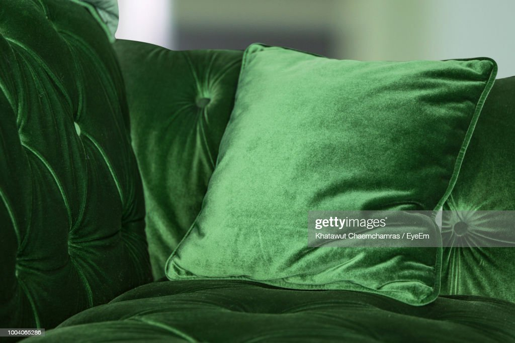 Green Velvet Sofa With Cushion At Home : Stock Photo