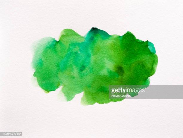 green watercolor brush strokes - wasserfarbe stock-fotos und bilder