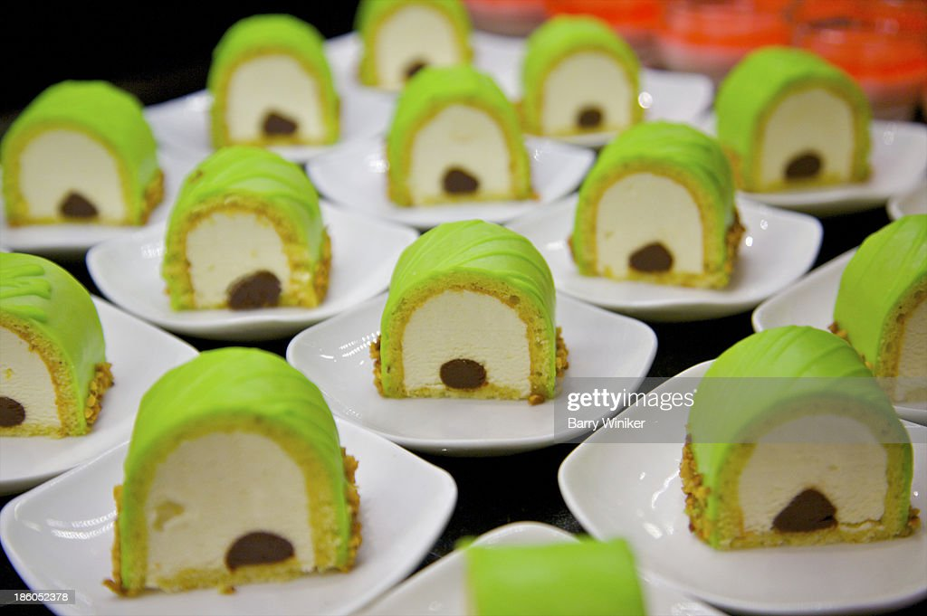 Green, white and brown repetitive dessert shapes : Stock Photo
