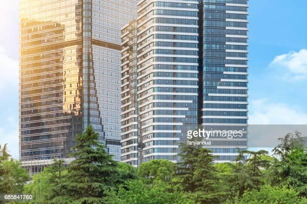 green with urban architecture,detail shot of Shanghai landmarks