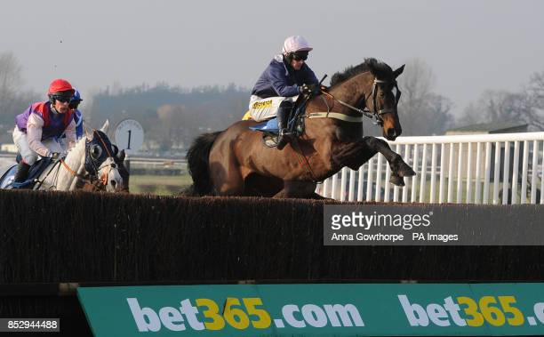 Green Wizard ridden by Ryan Mania clears a fence during the Star Sports Cheltenham Preview 3rd March Interactive Handicap Steeple Chase at Wetherby...