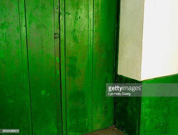 green wooden door and wall - lyn holly coorg stock-fotos und bilder