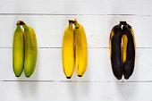 Green, yellow and black bananas.