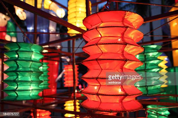 Green, yellow and red lanterns at a mid-autumn festival
