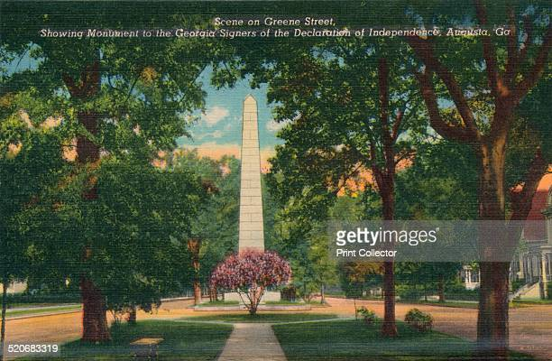 Greene Sreet looking east from Center Street Augusta Georgia America' c1910 Signers Monument appears in the distance and recognises Georgia's three...