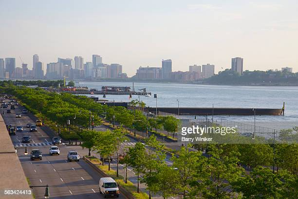 greenery near hudson river, nyc - joe dimaggio highway stock photos and pictures