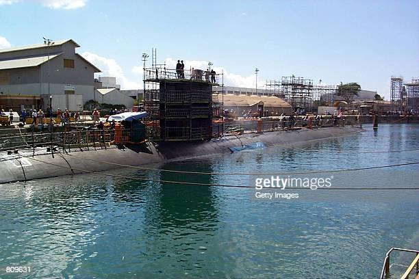 Greeneville arrives at Dry Dock for damage assessment and repairs February 20 2001 at the Pearl Harbor Naval Shipyard and Intermediate Maintenance...