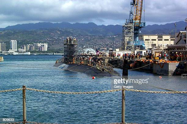 Greeneville arrives at Dry Dock for damage assessment and repairs February 20, 2001 at the Pearl Harbor Naval Shipyard and Intermediate Maintenance...