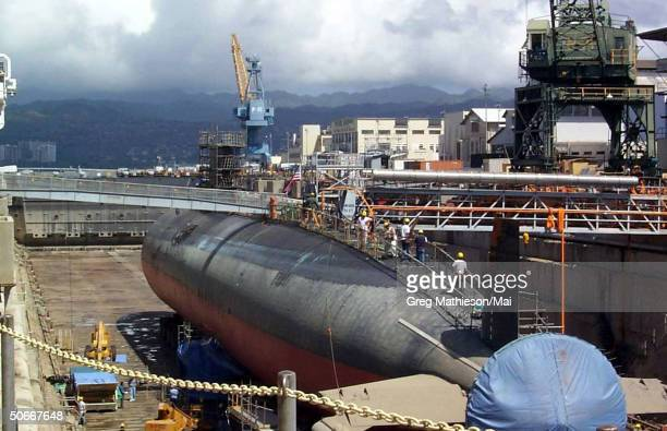 USS Greeneville in Dry Dock at Pearl Harbor Naval Shipyard and Intermediate Maintenance Facility for damage assessment and repairs following...