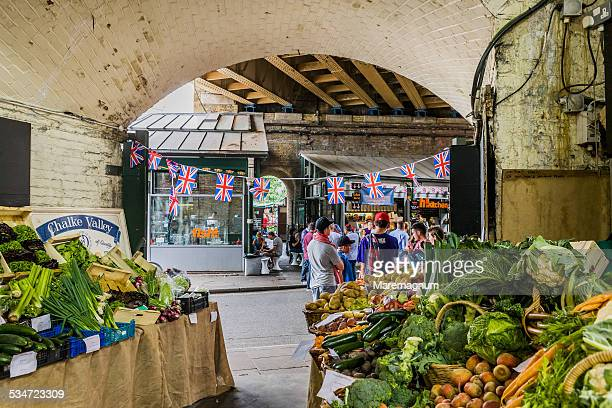 greengrocer at borough market - borough market stock pictures, royalty-free photos & images