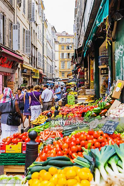 greengrocer near the marché (market) des capucins - marseille stock pictures, royalty-free photos & images