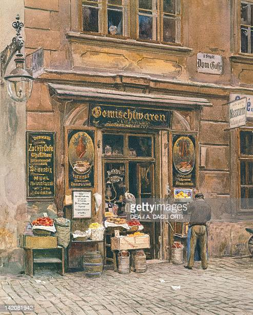 Greengrocer's in Vienna by E Graner 20th Century Watercolour