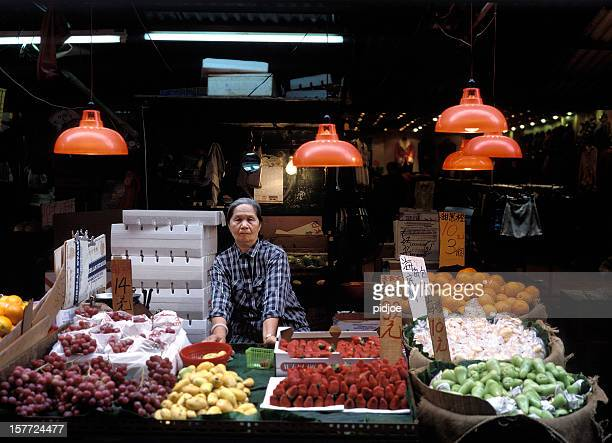 Greengrocer's shop on Temple Street market in Hong Kong