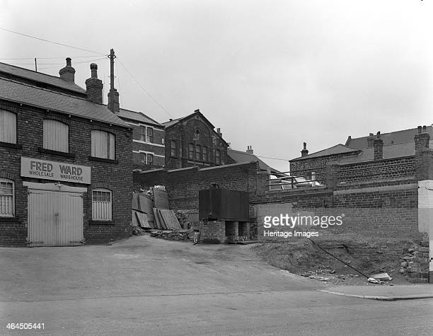Greengrocer's warehouse exterior Mexborough South Yorkshire 1966 The wholesale warehouse of Fred Ward the Greengrocer who sold fruit and vegitables...