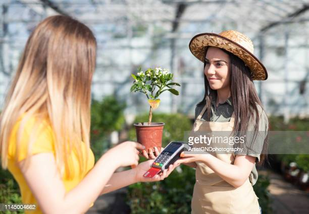 greenhouse workers selling pottered flowers. credit card payment - inserting stock pictures, royalty-free photos & images