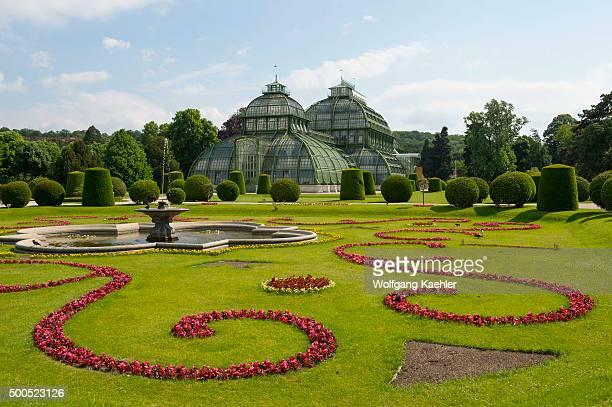 Greenhouses in the garden at Schönbrunn Palace in Vienna Austria