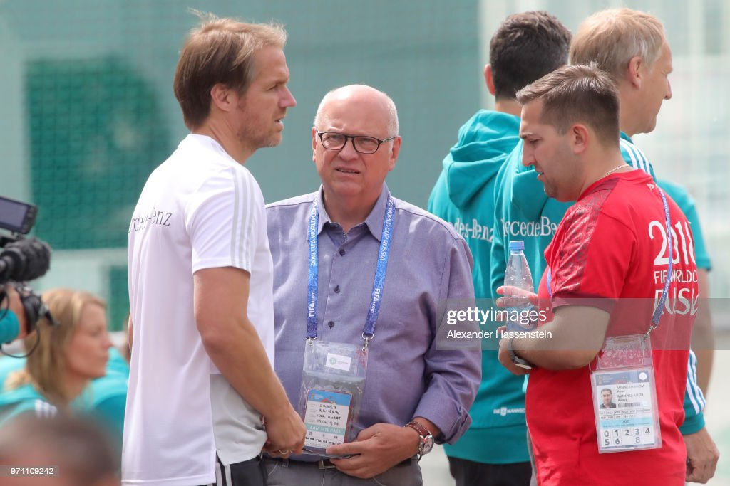 Greenkepper Rainer Ernst of Germany talks to assistent coach Thomas Schneider during the Germany training session ahead of the 2018 FIFA World Cup at CSKA Sports Base on June 14, 2018 in Moscow, Russia.