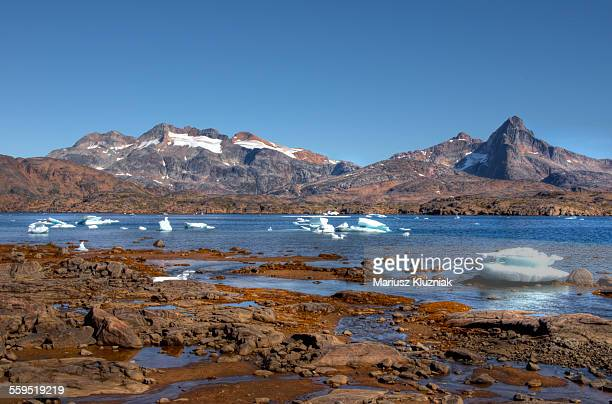 Greenland coast low summer tide and floating ice