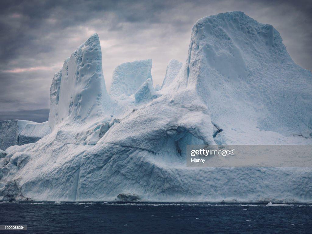 Greenland Giant Arctic Iceberg Disko Bay Dramatic Skyscape : Stock Photo