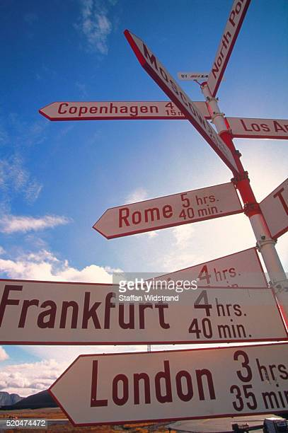 Greenland / Sondre Stromfjord: signpost with flying times to several towns