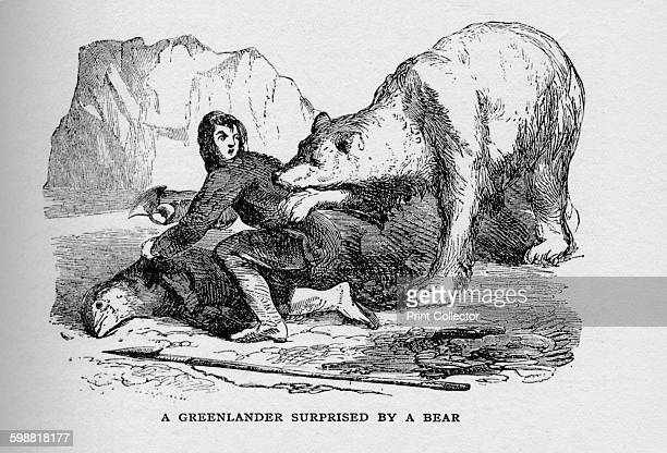A Greenlander Surprised by a Bear circa 1927 From The Book of Polar Exploration by E L Elias MA [George G Harrap Company Ltd London 1928] Artist...