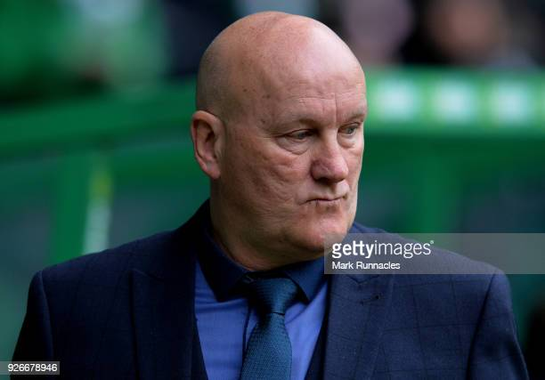 Greenock Morton manager Jim Duffy during the Scottish Cup Quarter Final match between Celtic and Greenock Morton at Celtic Park on March 3 2018 in...
