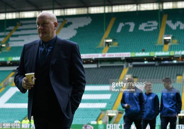 Greenock Morton manager Jim Duffy inspects the Celtic park pitch ahead of the Scottish Cup Quarter Final match between Celtic and Greenock Morton at...